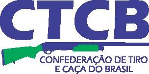 Logomarca da CTCB em letras azuis e partes da arma em verde